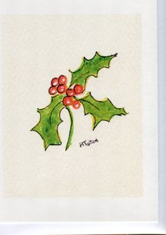 Holly and berries Christmas card Handmade and by HeatherTatumCards, £2.50