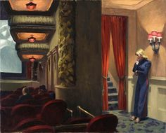 """1939 Edward Hopper, New York Movie Oil on canvas, Museum of Modern Art, New York """