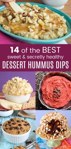 14 of the best dessert hummus dips - these flourless cookie dough dip recipes are safe to eat and made with a secret healthy ingredient. Dessert Hummus Recipe, Healthy Hummus Recipe, Dessert Dips, Healthy Recipes, Dip Recipes, Healthy Desserts, Fun Desserts, Gourmet Recipes, Dessert Recipes