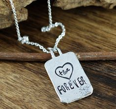 Anniversary necklace, Initial Heart Necklace, Forever Heart Necklace, Gift for Wife, Best friend Necklace, gift for BFF, Personalized gift by AnnieReh on Etsy Initial Necklace, Dog Tag Necklace, Personalized Gifts, Handmade Gifts, Friend Necklaces, Hand Stamped Jewelry, Gifts For Wife, Bff, Initials