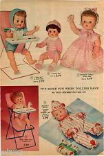 1960 ADVERT 4 PG Doll Tiny Tears Horsman Penny Betsy Wetsy Ideal Bye Bye Baby