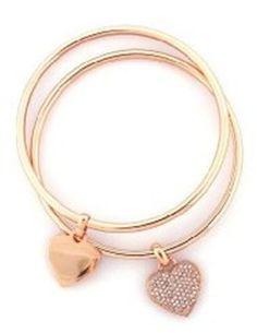 Michael Kors Michael Kors Heart Charm Bangle Set Rose Golden MKJ 3002791