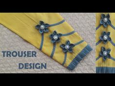 Flower Trouser design by All Style Neck Designs For Suits, Sleeves Designs For Dresses, Back Neck Designs, Blouse Neck Designs, Sleeve Designs, Churidar Neck Designs, Kurta Neck Design, Kurti Sleeves Design, Simple Blouse Designs