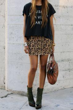 Leopard print pencil skirt, graphic top