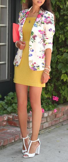 Floral Blazer- I would probably have never thought of buying one, but it looks soooo cute with the yellow dress...