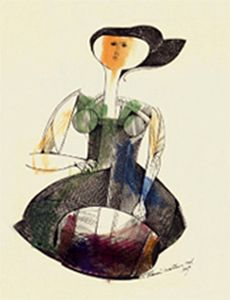 Dentellière. de Aldemir MARTINS (brésilien 1922 - 2006)