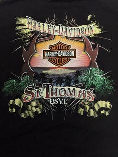 Harley Davidson 2XL St. Thomas USVI Black Short Sleeve T-Shirt XXL Motorcycle #HarleyDavidson #BasicTee