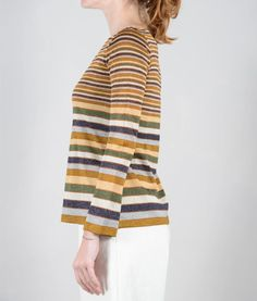maglia  a righe lavorazione maglia rasata bordi a coste