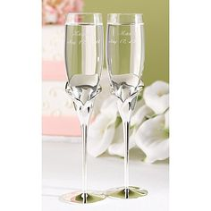 Personalized Wedding Flutes Calla Lily Champagne Glasses Toasting Glasses Engraved Ceremony Reception