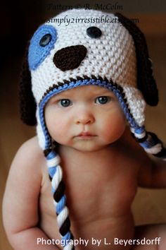 Patchy Puppy Hat Pattern in UK or US Terms - Crochet Pattern Number 18 - Beanie and Earflap Pattern - Newborn to Adult Sizes Included