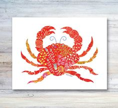 Note Card / Walking Sideways Whimsical Crab / Shellfish / Beach Art / Invitation…