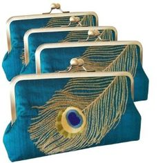 Peacock Feather Embroidered Silk Bridemaids clutch Set of 4