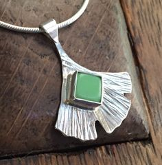 Sterling Silver Ginkgo Leaf with Green Glass Inlay