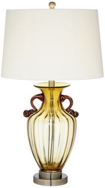 Clare Fluted Amber Glass 27-Inch-H Table Lamp