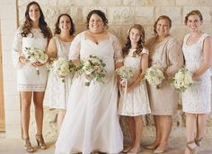 Sunstone Villa wedding ceremony bridal party. Soft neutral colors & vintage style lace bride and bridal party dresses. Photography: Erin Leigh - www.thebowerygirl.com  Read More: http://www.stylemepretty.com/california-weddings/2014/04/01/romantic-vintage-wedding/