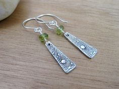 Peridot Dangle Earrings Eco Friendly Jewelry Recycled Silver PMC Floral Pattern Flower Jewelry August Birthstone Earrings - Crazy Daisy