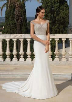 8d6e6ede7b11 Justin Alexander - Style 88083: Beaded and Crepe Fit and Flare Gown  Available at Ella