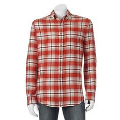 Men's Croft & Barrow® Slim-Fit Plaid Flannel Button-Down Shirt, Size: