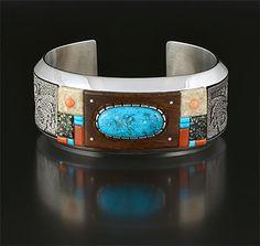 Silver & Multi-Stone Inlay Bracelet by Richard Tsosie (Navajo)