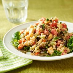 Quinoa contains more protein than any other grain. Edamame makes a tasty substitute for lima beans in this recipe. For an attractive presentation, serve the salad on a bed of baby greens or spinach.