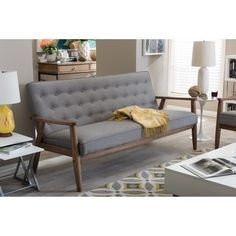 Baxton Studio Sorrento Mid-century Retro Modern Grey Fabric Upholstered Wooden 3-seater Sofa | Overstock.com Shopping - The Best Deals on Sofas & Loveseats