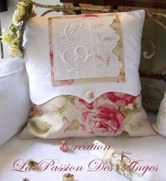 Pillow ~ French linens and embroidered detail