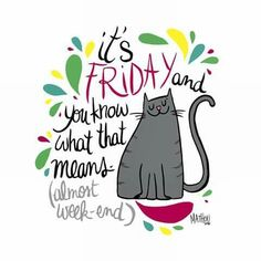 Friday end of the day, almost the weekend . May it be sweet and pleasant, big kisses Happy Week End, Happy Friday, Almost Weekend, Zen, Cat Jokes, Big Kiss, Cat Signs, Cat Birthday, Great Words