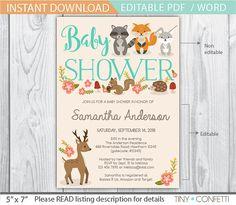 woodland baby shower invitation - forest animals baby shower - woodland baby shower invite - fall baby shower - animal baby shower - fox by TinyConfetti