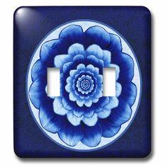 3dRose Pastel Cobalt Fantasy Mandala Flower Double Toggle Light Switch in Blue/Indigo, Size 5.0 H x 4.5 W x 0.06 D in | Wayfair