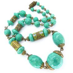 Image of Vintage Art Deco Czech Green Peking Glass Bead Enamel Necklace