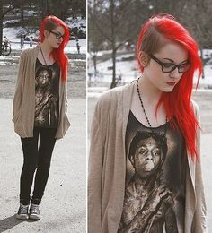 Red hair with side shaved