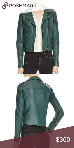 """Doma Leather Women's Blue Leather Moto Jacket A washed finish lends a well-worn look to this essential moto jacket, crafted from buttery soft lambskin leather. Notched collar with snap closures. Epaulettes. Off-center zip front. Long sleeves. Zip cuffs. Front zip pockets. About 20"""" from shoulder to hem. Leather. Dry clean by leather specialist. Doma leather  Jackets & Coats"""