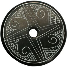 """Coal Pendant with Muisca Scroll #8  Crafted by Artisans in Colombia  Measures 1-3/4"""" diameter and 1/8"""" thick"""