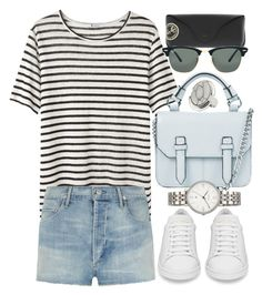 """""""Untitled #10555"""" by theleatherlook ❤ liked on Polyvore featuring Topshop, T By Alexander Wang, Citizens of Humanity, Ray-Ban, FOSSIL and Yves Saint Laurent"""