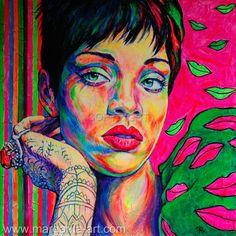 """Saatchi Art Artist Margarita Kriebitzsch; Painting, """"RIHANNA Pop Art Portrait""""…"""