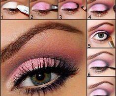pretty pink eye shadow Pink Eye Makeup Looks, Makeup For Green Eyes, Love Makeup, Makeup Tips, Makeup Tutorials, Makeup Ideas, Eyeshadow Tutorials, Easy Makeup, Makeup Set
