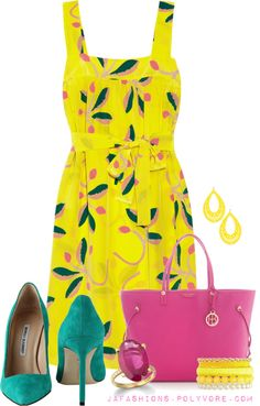 """Summer Yellow Printed Dress #1"" by jafashions ❤ liked on Polyvore"