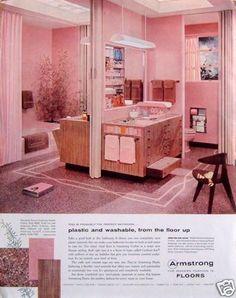 1957 Original Ad: Armstrong Floors Modern Fashion Pink & Burgundy Bathroom
