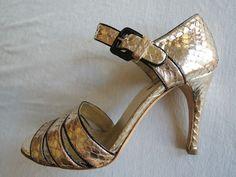 Prada Gold Snakeskin Heels  On www.FullCircleFashion.com