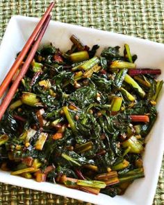 Recipe for Spicy Asian Stir-Fried Swiss Chard; if you're lucky enough to still be getting chard from the garden or CSA box, I highly recommend this recipe! [from Kalyn's Kitchen] Vegetable Recipes, Vegetarian Recipes, Cooking Recipes, Healthy Recipes, Vegetable Sides, Veggie Side, Chicken Recipes, Swiss Chard Recipes, Asian Stir Fry