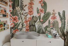 Cactus Themed Desert Oasis- Twin Girl Nursery   Kelsey Bang Girls Bedroom Mural, Girl Nursery Themes, Nursery Twins, Bedroom Murals, Nursery Design, Nursery Room, Themed Nursery, Nursery Ideas, Nursery Decor