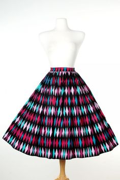 Jenny Skirt in Turquoise and Black Harlequin Print