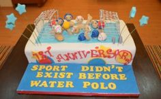Water Polo grooms cake with no writing on pool, no stars, and white background with black or hot pink/raspberry writing for the saying.