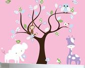 Vinyl wall decal nursery tree wall decal for baby girl's nursery.  via Etsy.