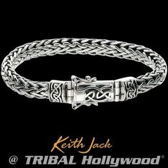 Raised gold Celtic knots, symbolizing God's eternal protection, are featured on this robust sterling silver men's bracelet from Scotland's Keith Jack. Mens Silver Jewelry, Sterling Silver Mens Rings, Sterling Silver Cross, Silver Rings, Men's Jewelry, Silver Necklaces, Fashion Jewelry, 9ct Gold Bracelet, Silver Ring Designs