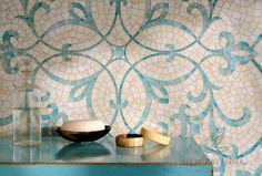 Marabel, a hand-cut jewel glass mosaic shown, in Aquamarine and Quartz jewel glass, is part of the Silk Road Collection by Sara Baldwin for New Ravenna. <br /> <br /> For pricing samples and design help, click here: http://www.newravenna.com/showrooms/