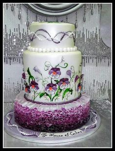 This cake won place in the competition in Abu Dhabi with Buddy from Cake Boss as jury. I think it totatally deserved second place but we won as well, so they could not just give awards to one company :) Gorgeous Cakes, Pretty Cakes, Amazing Cakes, Cupcakes, Cupcake Cakes, Bolo Floral, Purple Cakes, Hand Painted Cakes, Cake Boss