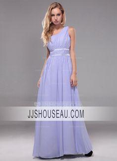 A-Line/Princess Lavender Ruffle  Beading One-Shoulder Evening Dress Evening Dress