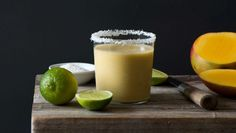 Mango, lime and coconut smoothie.