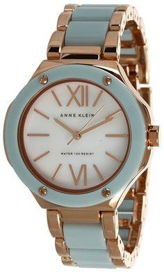 Anne Klein Women's AK/1148RGMT Rosegold-Tone Mint Green Resin Bracelet Watch : Disclosure: Affiliate link